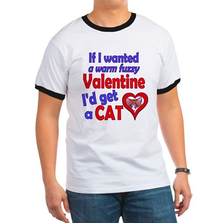 Cat Funny Anti-Valentine Ringer T