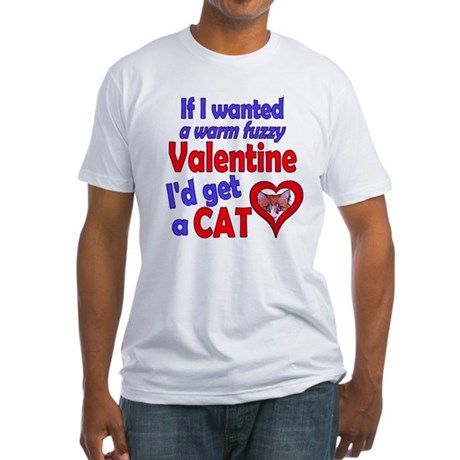 Cat Funny Anti-Valentine Fitted T-Shirt