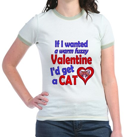 Cat Funny Anti-Valentine Jr. Ringer T-Shirt