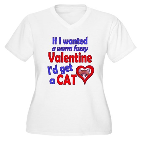 Cat Funny Anti-Valentine Women's Plus Size V-Neck
