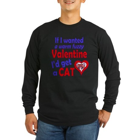 Cat Funny Anti-Valentine Long Sleeve Dark T-Shirt