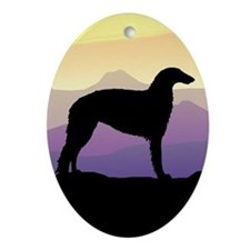 Purple Mountain Borzoi Oval Ornament