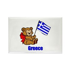 Greece Teddy Bear Rectangle Magnet (100 pack)