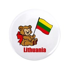 "Lithuania Teddy Bear 3.5"" Button (100 pack)"