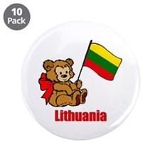 "Lithuania Teddy Bear 3.5"" Button (10 pack)"