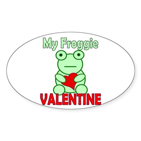 Frog Valentine Oval Sticker