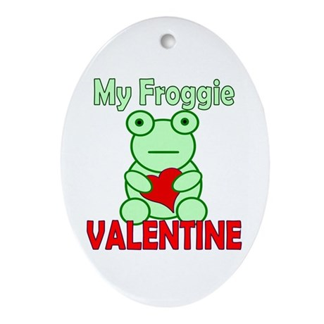Frog Valentine Oval Ornament