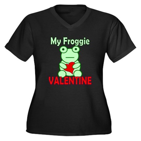 Frog Valentine Women's Plus Size V-Neck Dark T-Shi