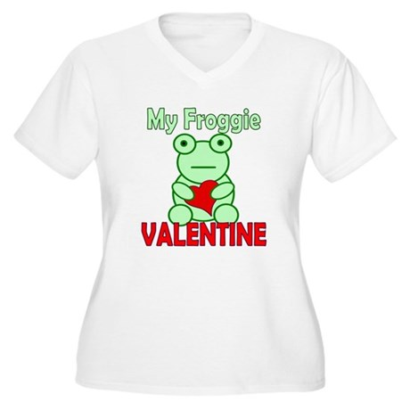 Frog Valentine Women's Plus Size V-Neck T-Shirt