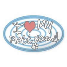 Hypno I Love My Plott Hound Oval Sticker Blue