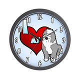 Love Old English Sheepdog Clock (Cartoon Sheepie)