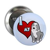 Love Old English Sheepdog Button