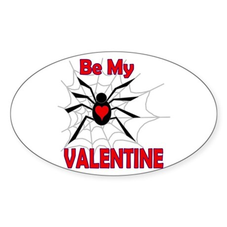 Spider Valentine Oval Sticker