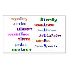Liberal Values Rectangle Decal