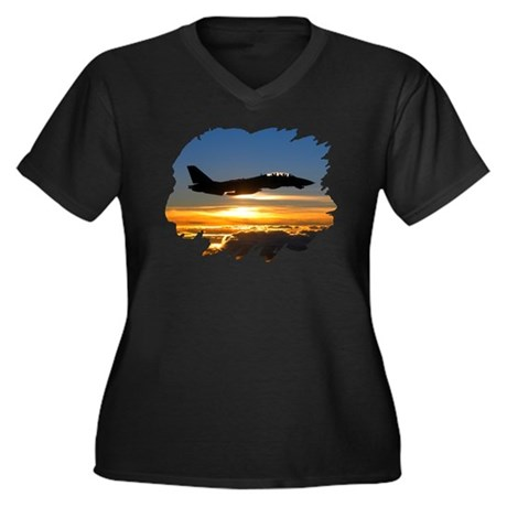 F-14 Tomcat Women's Plus Size V-Neck Dark T-Shirt