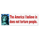 NO TORTURE Bumper Car Sticker