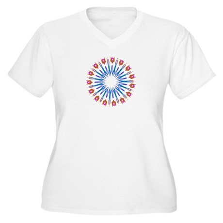 Kaleidoscope 003a Women's Plus Size V-Neck T-Shirt