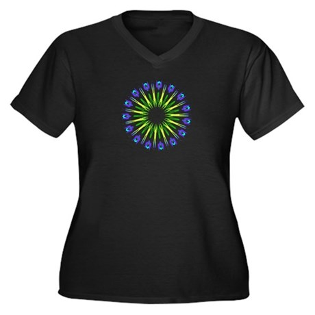 Kaleidoscope 003b Women's Plus Size V-Neck Dark T-