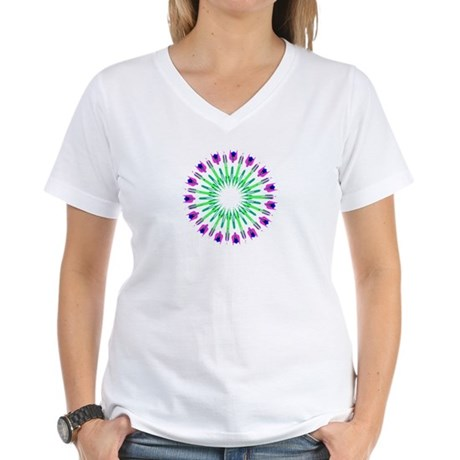 Kaleidoscope 003c Women's V-Neck T-Shirt