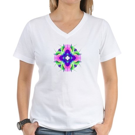 Kaleidoscope 001b Women's V-Neck T-Shirt