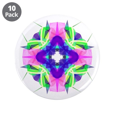 "Kaleidoscope 001b 3.5"" Button (10 pack)"