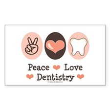 Peace Love Dentistry Dentist Rectangle Decal