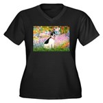Garden / Rat Terrier Women's Plus Size V-Neck Dark