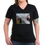 Creation / Briard Women's V-Neck Dark T-Shirt