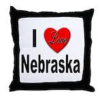 I Love Nebraska Throw Pillow