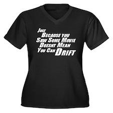 F&F Can't Drift Women's Plus Size V-Neck Dark T-Sh