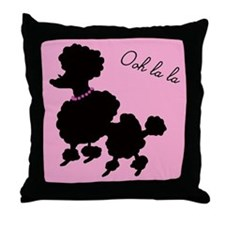 French Poodle in Paris Pink Throw Pillow