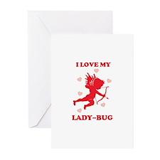 LADY-BUG (cherub) Greeting Cards (Pk of 10)