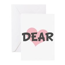 DEAR (pink heart) Greeting Cards (Pk of 10)