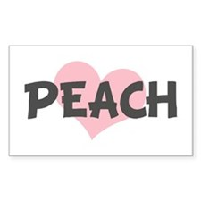 PEACH (pink heart) Rectangle Decal