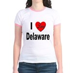 I Love Delaware (Front) Jr. Ringer T-Shirt