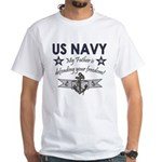 Navy Father Defending White T-Shirt