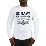 Navy Father Defending Long Sleeve T-Shirt