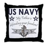 Navy Father Defending Throw Pillow