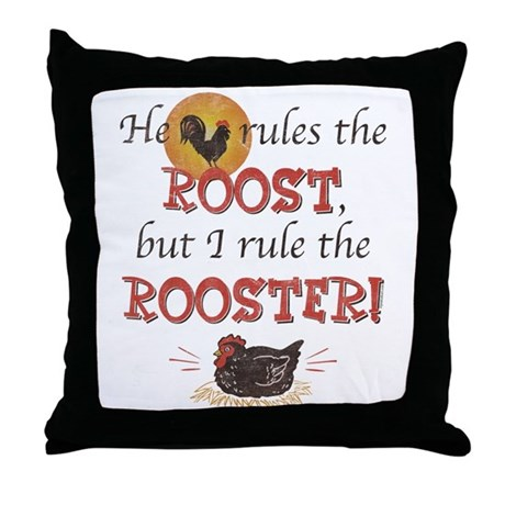 Rules The Rooster Throw Pillow