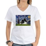 Starry Night / Pomeranian (b&w) Women's V-Neck T-S