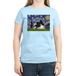 Starry Night / Pomeranian (b&w) Women's Light T-Sh