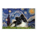 Starry Night / Pomeranian (b&w) Sticker (Rectangle