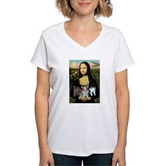 Mona Lisa/Pomeranians Women's V-Neck T-Shirt