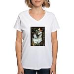 Ophelia / Pomeranian (p) Women's V-Neck T-Shirt
