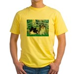Bridge / 2 Pomeranians Yellow T-Shirt