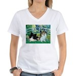 Bridge / 2 Pomeranians Women's V-Neck T-Shirt