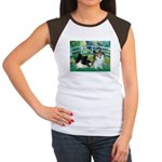 Bridge / 2 Pomeranians Women's Cap Sleeve T-Shirt