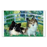 Bridge / 2 Pomeranians Sticker (Rectangle)