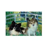 Bridge / 2 Pomeranians Rectangle Magnet (10 pack)
