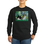 Bridge / 2 Pomeranians Long Sleeve Dark T-Shirt